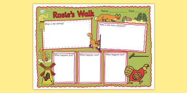 Book Review Writing Frame to Support Teaching on Rosie's Walk - rosies walk, book review, writing frame, book review writing frame, writing aid, writing template, writing