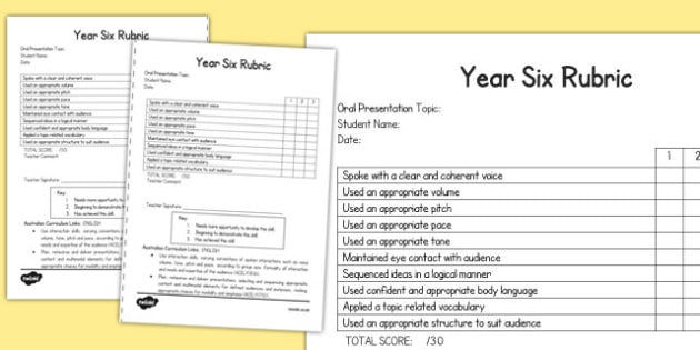 Oral Presentation Rubric Year Six - australia, oral, presentation, rubric, year six