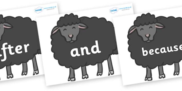 Connectives on Baa Baa Black Sheep - Connectives, VCOP, connective resources, connectives display words, connective displays