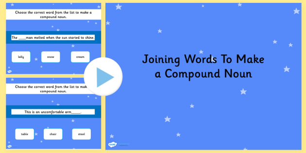 Joining Words to Make Compound Nouns SPaG Grammar PowerPoint Quiz