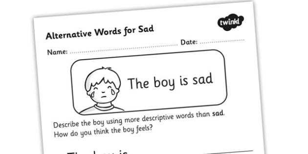 Alternative Words For Sad Worksheet - alternative words for sad, better words for sad, other words for sad, synonyms, synonym worksheet, synonyms for fun