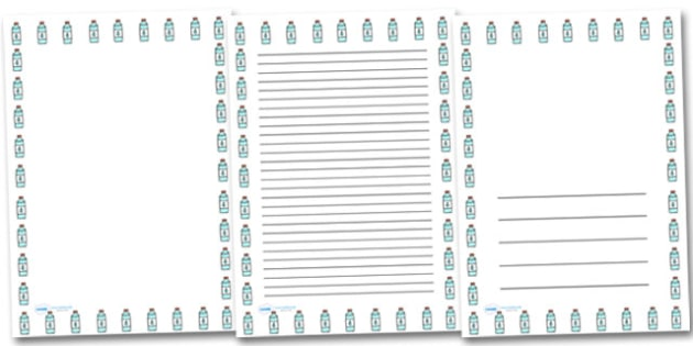 Water Bottle Portrait Page Borders- Portrait Page Borders - Page border, border, writing template, writing aid, writing frame, a4 border, template, templates, landscape