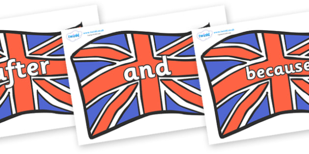 Connectives on Union Jacks - Connectives, VCOP, connective resources, connectives display words, connective displays
