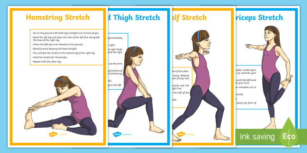 Cool-Down Stretches for the Legs Display Posters - PE, Y6, Y5, Y4, Y3, stretches, stretching, leg stretching, cool down, muscles, safe practice, good p