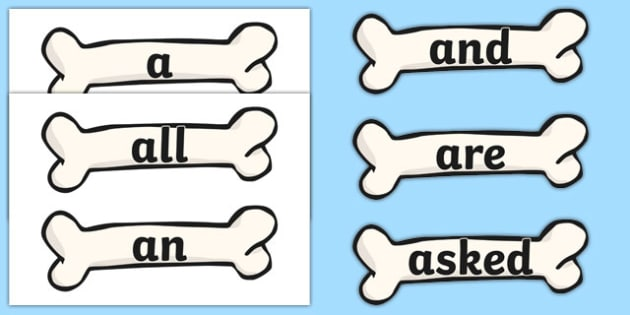 100 High Frequency Words on Bones - High frequency words, hfw, DfES Letters and Sounds, Letters and Sounds, display words