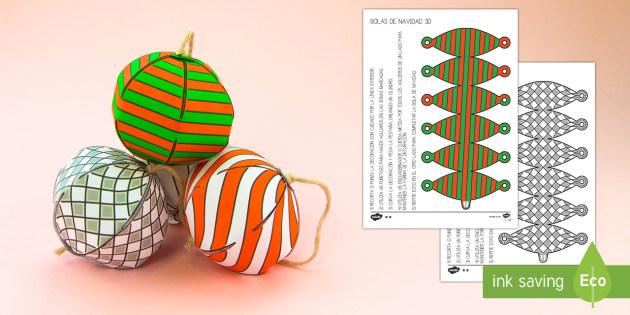 Bolas de Navidad sencillas Manualidad - navideño, decoración, adornos,Spanish