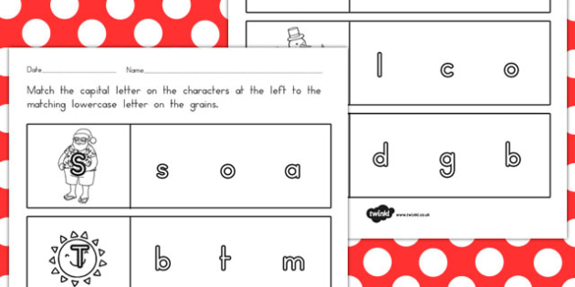 Christmas Themed Capital Letter Matching Worksheet - australia