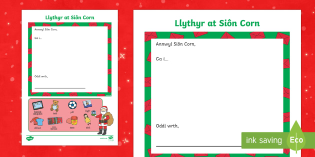 Father Christmas Letter-Welsh