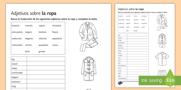 Adjectives for Clothes Sorting Activity Sheet Spanish - Spanish Vocabulary, adjectives, clothes, sorting, activity, sheet, worksheet