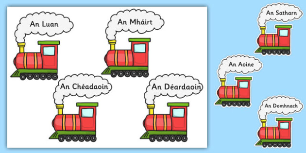 Irish Days of the Week on Trains - ireland, gaelic, gaeilge, weekly, display, words, train, adventure, theme, topic, carriages