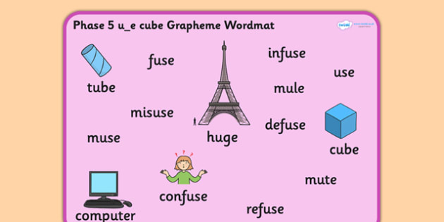 Phase 5 u_e Cube Grapheme Word Mat - phase five, graphemes