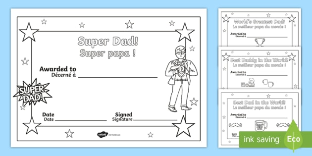 fathers day colouring certificates englishfrench fathers