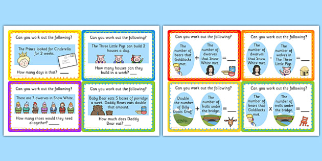 Traditional Tale Word Problem Challenge Cards - challenge cards