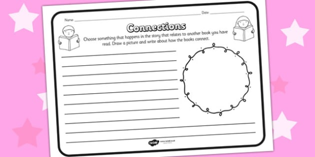 Connections Comprehension Worksheet - connections, comprehension, comprehension worksheet, character, discussion prompt, reading, connection worksheet