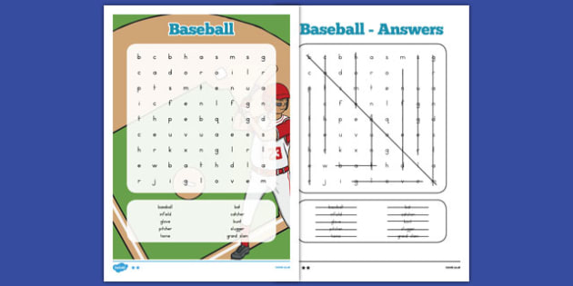 Baseball Word Search - usa, america, baseball, mlb, major league baseball, word search