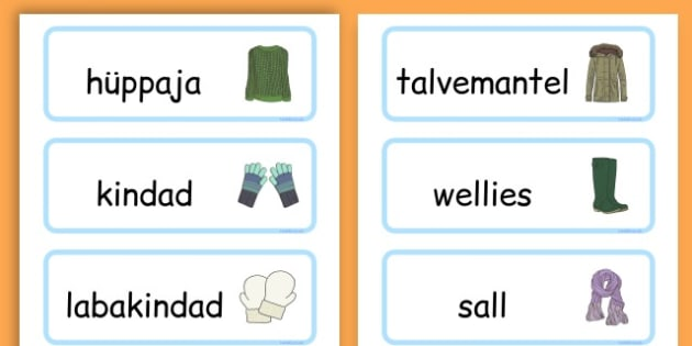 Winter Clothes Word Cards - winter clothes, word cards, winter, clothes - Estonian