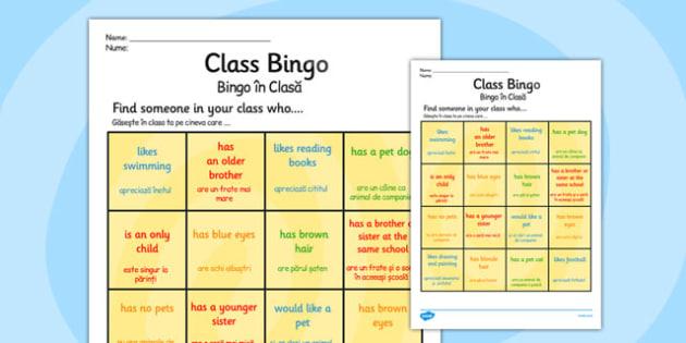 Class Welcome Transition Bingo Board Romanian Translation - romanian