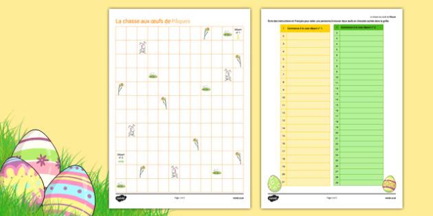 KS3 Français : La chasse aux oeufs de Pâques Modèle d'écriture pour élèves - french, Easter, Pâques, directions