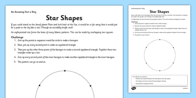 Star Shapes Activity Sheet - draw a star, fact of the day, activity, worksheet