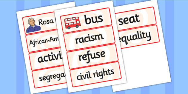 Rosa Parks Word Cards - rosa parks, word cards, topic cards, themed word cards, themed topic cards, key words, key word cards, keyword, writing aid, cards