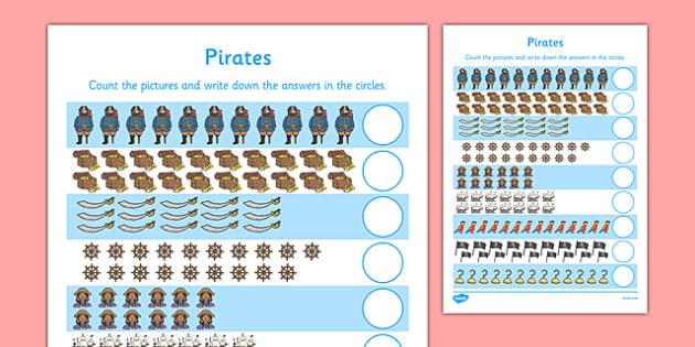 Pirates Counting 11-20 Activity Sheet - pirates, counting, count, 1-1, one to one, 11-20, activity sheet, activity, sheet, worksheet