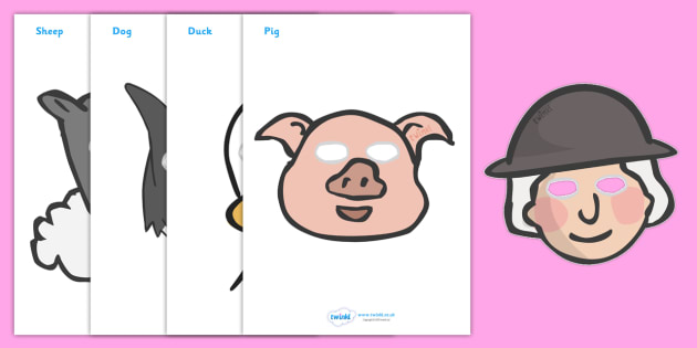 Story Role Play Masks to Support Teaching on Pig in the Pond - Pig in the Pond, Martin Waddell, resources, Very Hot Day, Neligan, Neligan's pig, ducks, geese, pond, animals, story, story book, story book resources, story sequencing, story resources,