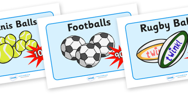 Sports Shop Role Play Display Posters - Sports, sport, shop, equipment, sign, posters, signs, banner, being healthy, keeping fit, equipment, football, rugby, cricket, ball, PE