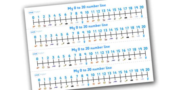 Under the Sea Number Line (0-20) - Under the Sea, Sea, Maths, Math, numberline, numberline display, fish, octopus, sea, seaside, water, tide, fish, sea creatures, shark, whale, marine life, dolphin