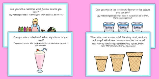 Ice Cream Parlour Role Play Challenge Cards Polish Translation - polish, ice cream parlour, role play