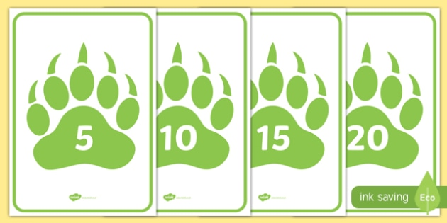 Numbers 0 to 20 on Paw Prints A4 Display Poster