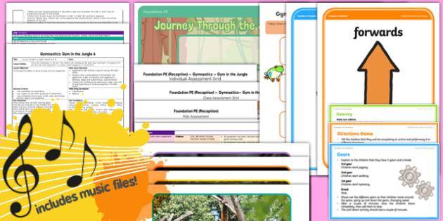 Foundation PE (Reception) - Gymnastics - Gym in the Jungle Lesson Pack 6: Journey Through the Jungle - EYFS, PE, Physical Development, Planning