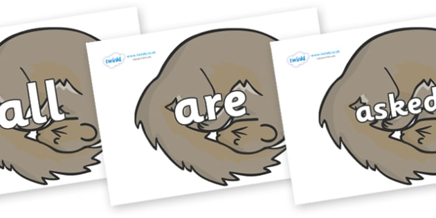 Tricky Words on Grey Squirrels - Tricky words, DfES Letters and Sounds, Letters and sounds, display, words
