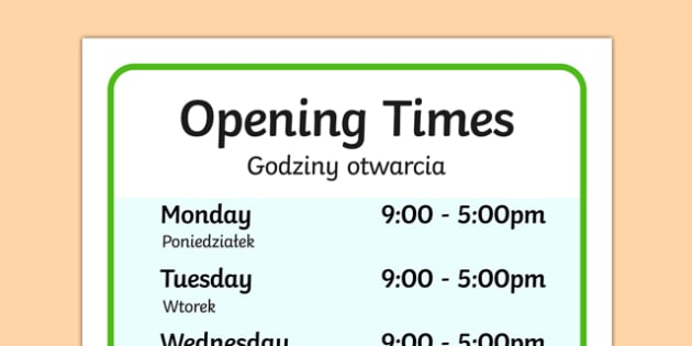 Farm Shop Opening Times Polish Translation - polish, Farm Shop Role Play, farm shop resources, farm, milk, cheese, eggs, till, animals, meat, cheese, living things, butcher, role play, display, poster