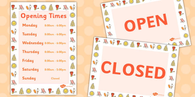 Seaside Opening Times Display Poster - seaside, opening times