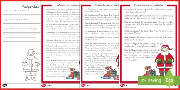Comprensión lectora de atención a la diversidad: Calendario navideño - Christmas Spain, Navidad, navidades, reyes, festividades, lectura, comprensión lectora, celebrar, c
