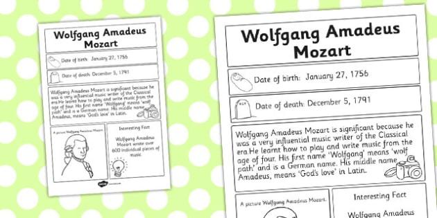 Wolfgang Amadeus Mozart Significant Individual Fact Sheet - fact