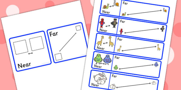 Near And Far Picture Cards - distances, distance cards, position