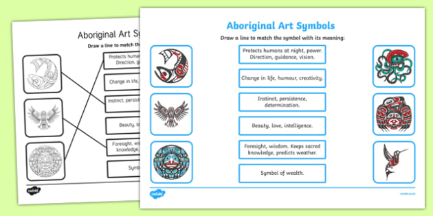 Aboriginal Art Symbols Activity Sheet, worksheet