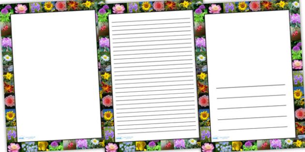 Flower Photo Page Borders - flower, photo page borders, photo borders, page borders, flower page borders, flower photo borders, writing frames, lined pages