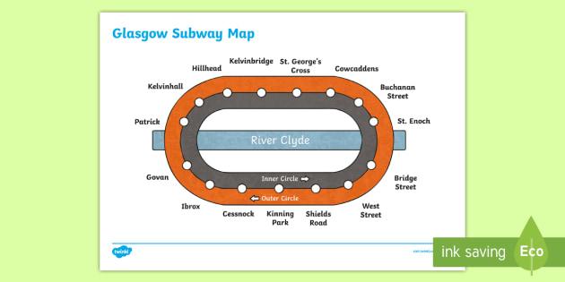 Glasgow Subway Map - Scottish Cities, Glasgow, transport, trains,Scottish