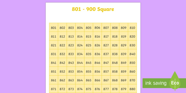 801-900 Square - number square, hundred square, number, numbers, square, count, 801-900