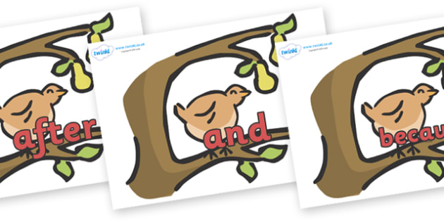 Connectives on Partridge in a Pear Tree - Connectives, VCOP, connective resources, connectives display words, connective displays