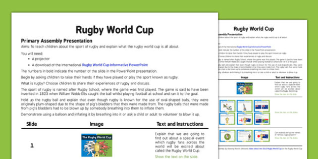 Rugby World Cup Assembly - rugby, world cup, assembly, sports