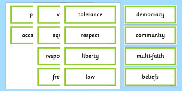 British Values Word Cards - british, values, word cards, cards