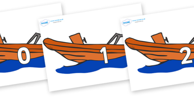 Numbers 0-50 on Lifeboats - 0-50, foundation stage numeracy, Number recognition, Number flashcards, counting, number frieze, Display numbers, number posters