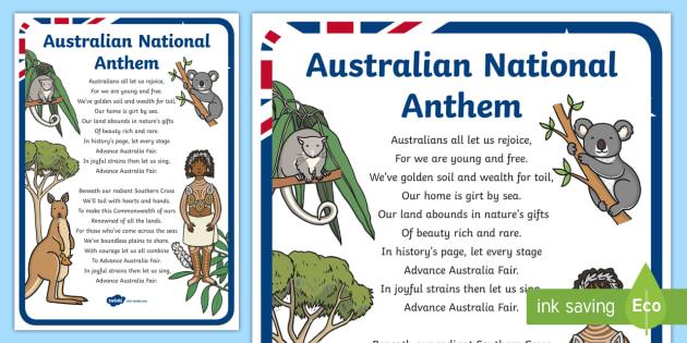 Australian National Anthem A4 Display Poster - australia, australian anthem, national anthem, advance australia fair, Australia