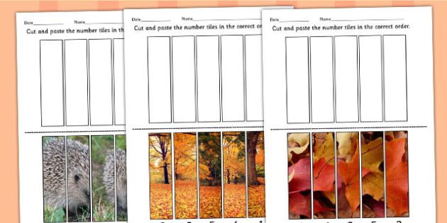 Autumn Themed Photo Number Sequencing Puzzles - seasons, weather