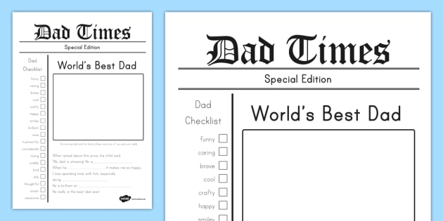 Father's Day Newspaper Keepsake Template - fathers day, newspaper, card