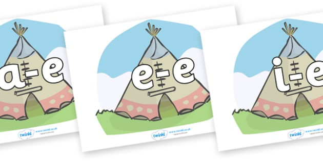 Modifying E Letters on Tipis - Modifying E, letters, modify, Phase 5, Phase five, alternative spellings for phonemes, DfES letters and Sounds