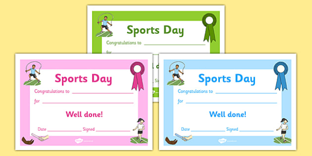 Editable Award Certificates Editable Sports Day Award
